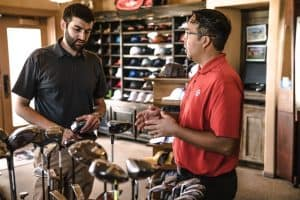 Customer in Golf Pro Shop